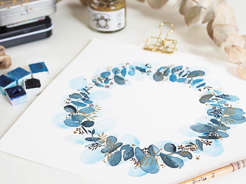 watercolor-wreath-eucalyptus-jazper-stardust-winsor-newton-laboutiquedemelimelo