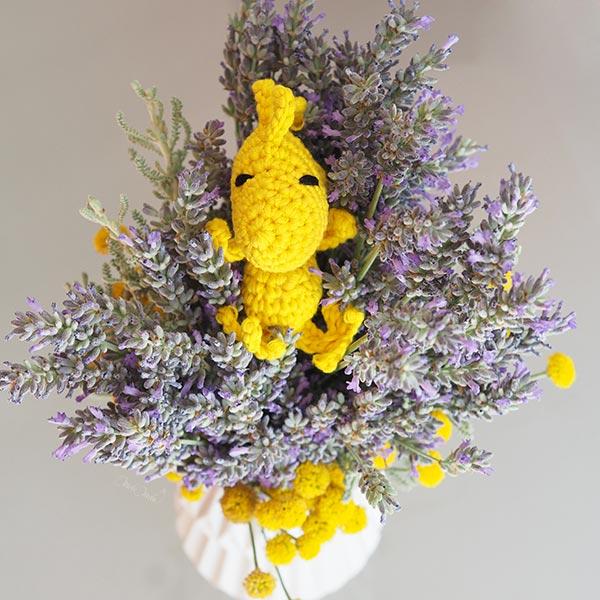 Woodstock Peanuts canari jaune crochet amigurumi happycrochetetc face lavande laboutiquedemelimelo