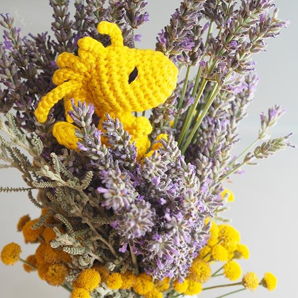 Woodstock Peanuts canari jaune crochet amigurumi happycrochetetc profil lavande laboutiquedemelimelo
